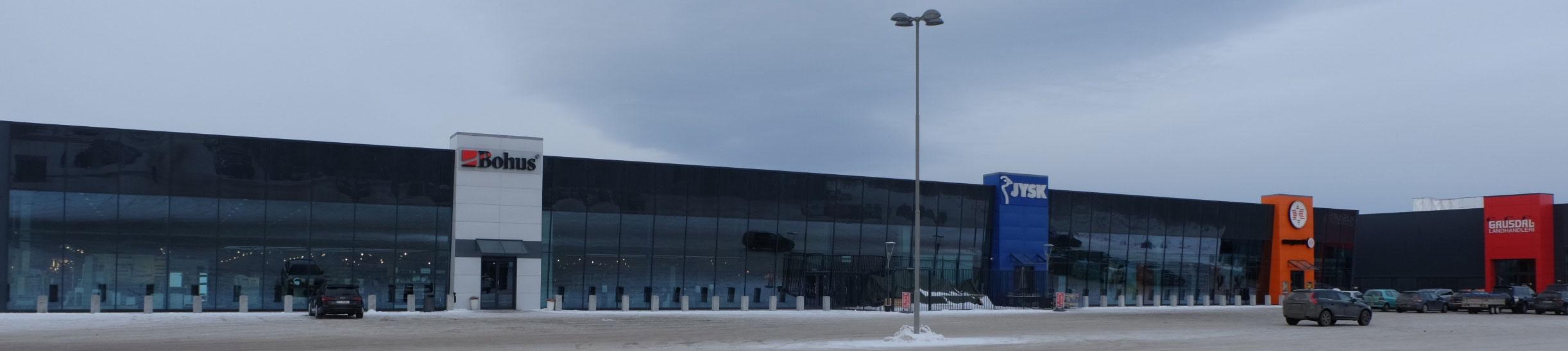 JYSK med ambisjoner om større butikker. Her på plass på Grindalsmoen i Elverum, vegg i vegg med Bohus. (Illustrasjonsfoto: Odd Henrik Vanebo)