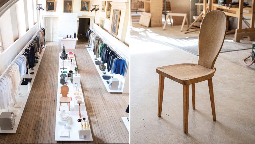Her er de første bildene hvor H & M letter litt på sløret når det gjelder Arket-sortimentet. Møbler står midt blant fashion-merkevarene. Caféstolen i nærbilde til høyre. (Foto: Arket)