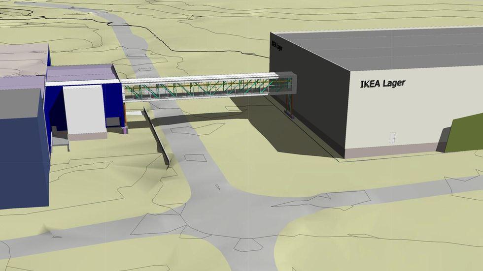 Tre transportbånd vil sende flatpakkene på paller over til varehuset i den gjennomsiktige tunnelen. (Illustrasjon: Selberg Arkitekter AS)