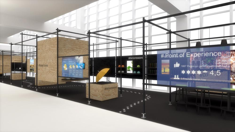 """Visualisering av innsjekkingssonen til Ambientes spesielle presentasjon """"Point of Experience"""". (Pressemeldinger)"""