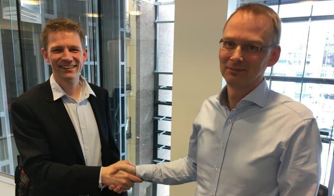 Adm.dir. Steinar H Nygaard i Vertica Norge og Jeppe Møller Hansen, adm.dir. i Vertica i Danmark gleder seg til å satse i det norske markedet.