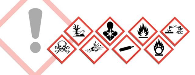 Miljødirektoratets faresymboler for klassifisering og merking av kjemikalier (CLP).
