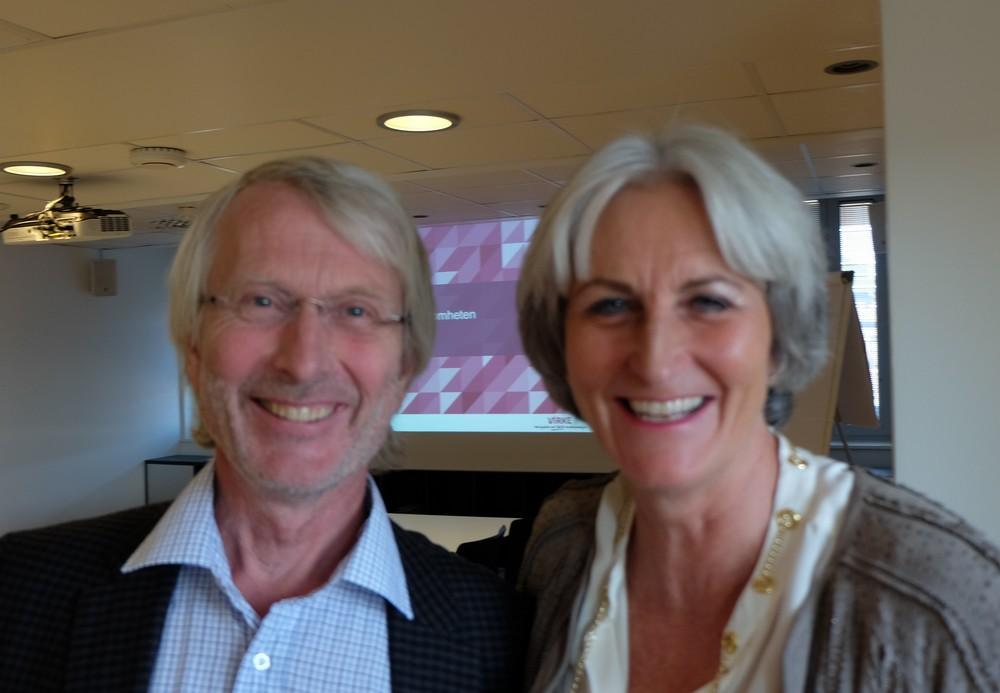 Lars Haartveit og Vibeke Hammer Madsen – glade for at de fleste kurver peker oppover igjen. (Foto: Odd Henrik Vanebo)