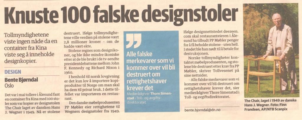 Faksimile av et oppslag i Dagens Næringsliv for noen år siden etter at en norsk importør ble tatt i Ålesund.