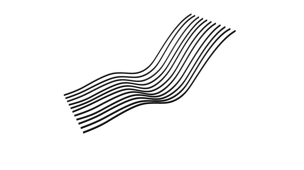 Prinsippskisse av Ably-sengen med 11 langsgående fjærer som skal kunne skrus til og endres på fire steder hver. (Illustrasjon: Ably Medical)