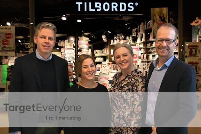 Fra venstre: Vebjørn Torsetnes fra Tirag, Connie Vollebek fra Tilbords, Malin Rønvåg og Torstein Syvertsen fra TargetEveryone. (Foto: TargetEveryone)