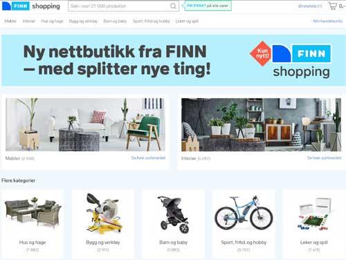 Først møbel og interiør - deretter blir nok andre kategorier til avdelinger i Schibsteds digitale varehus. (Skjermdump FINN)