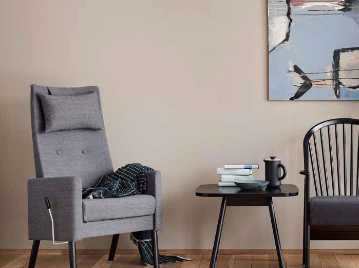 Modell Dis – hvilestol med funksjoner tilpasset senior- og privatmarkedet.