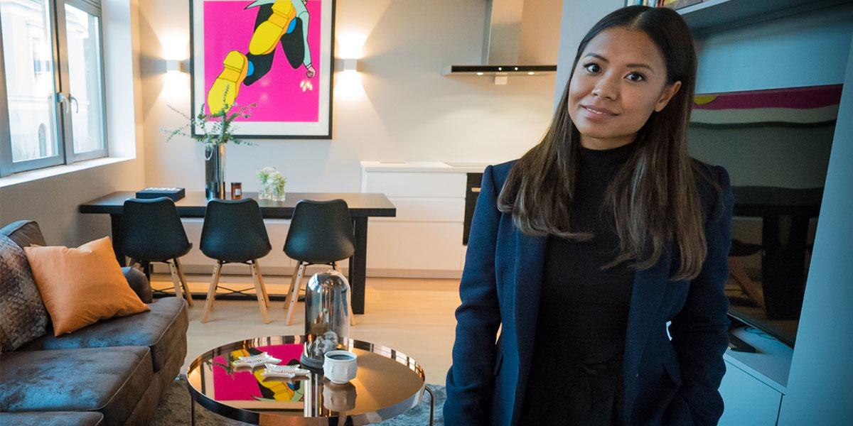 Hjemme hos en kunde i Oslo som hadde kjøpt leilighet. Denice Hagen stod for oppussing, stylet alt og hjalp til med møblering og dekorering.